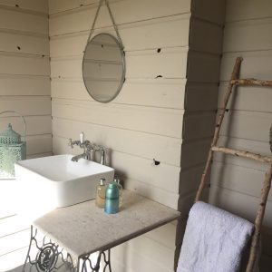 luxury glamping bathroom